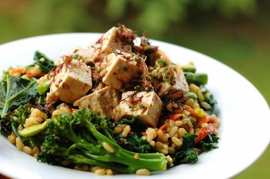 Brown Rice and Tofu Poke Salad