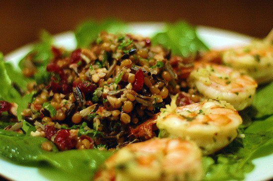 red wheatberry salad